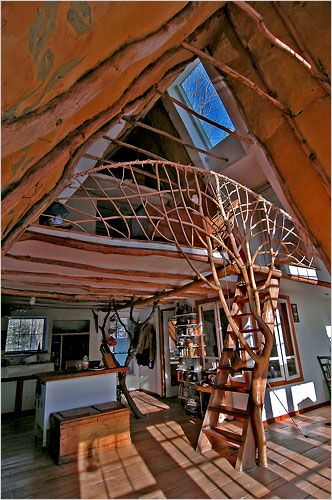 "Roald Gundersen built his home and greenhouse using whole tree for structure and: note to self - find/marry a ""forester-architect"""