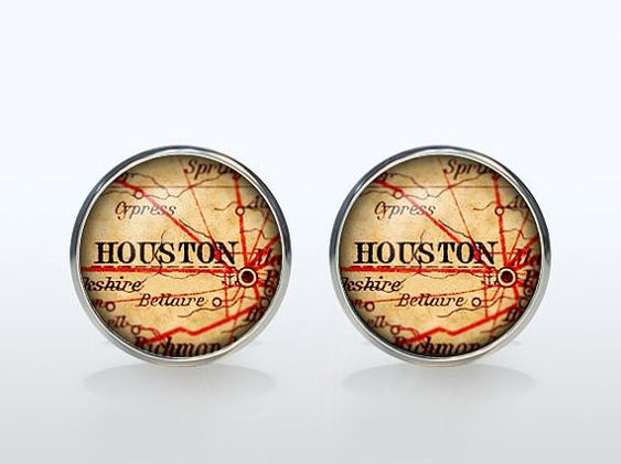Love it! Houston Map Cufflinks Silver plated Houston Vintage by ElegantCuff. Etsy.