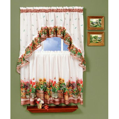 """Achim Importing Co Country Garden 57"""" Valance and Tier Set"""