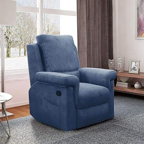 Louis Donne Recliner Chair Baby Skin Touch Corduroy Fabric Comfy High Density Thicker Spong Manual Single C Single Sofa Chair Living Room Sofa Recliner Chair