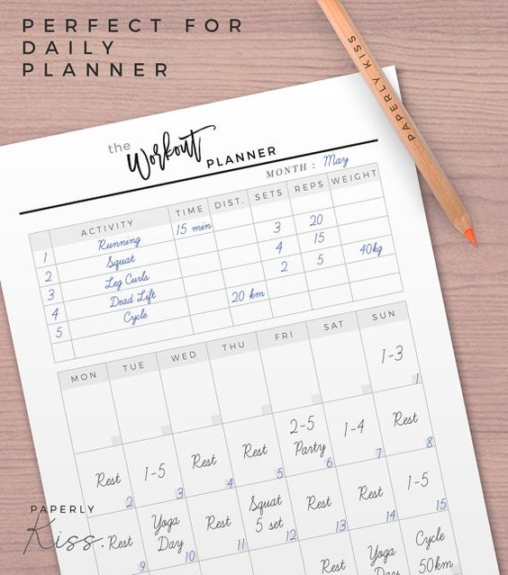 Monthly Goals, 12 Pages, A4 - A5 - Letter, Minimal \ Clean Goal - workout log sheets