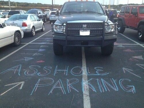 "AHole Parking.....Love this! I've always wanted to do this when I see someone park like this.... kudos to the person who ""chalked that up"""