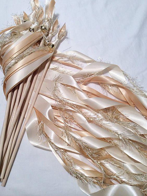 Metallic Foil Streamer Wands : Wedding ribbon wands, Wedding ribbons and Ribbon wands on Pinterest