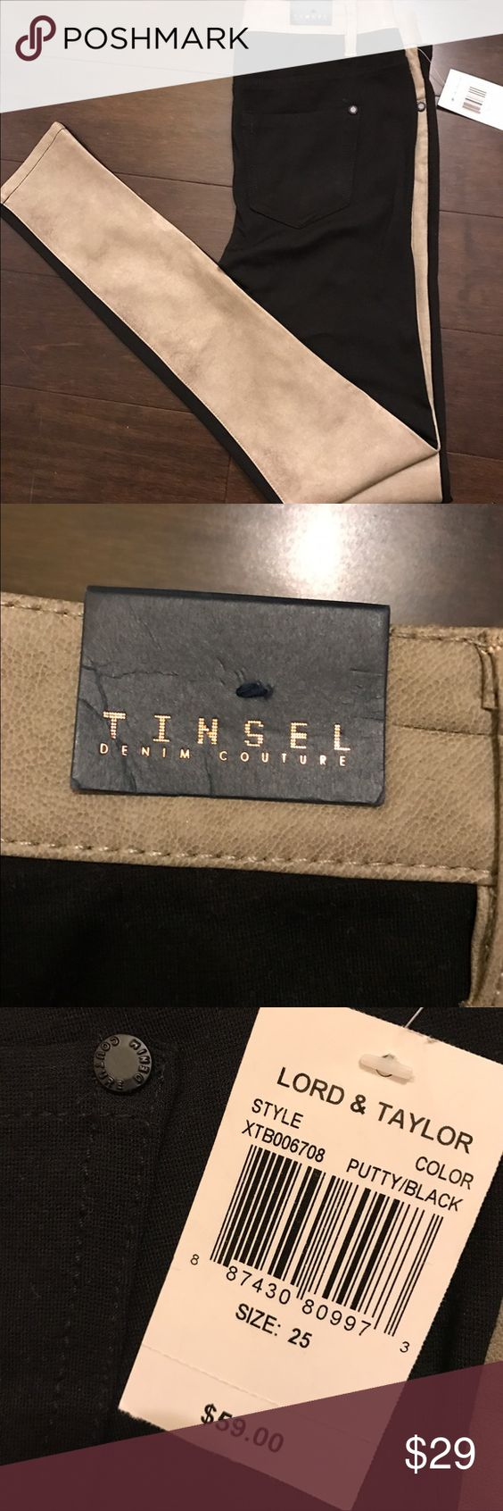 Tinsel pants Size 25 - trendy two toned pants!  front is faux leather feeling and back is black. tinsel Pants Skinny