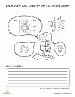 robot story starter creative fun coloring pages and children. Black Bedroom Furniture Sets. Home Design Ideas