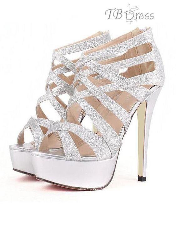 Silver Faux Leather Glitter Strappy Gladiator Platform Heels ...