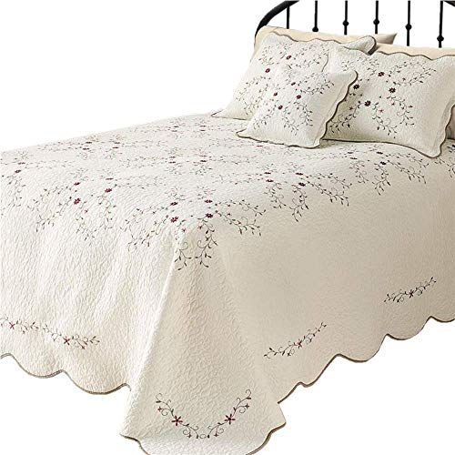 Lelva Oversized Embroidery Bedspreads Bed Coverlets Cover Set