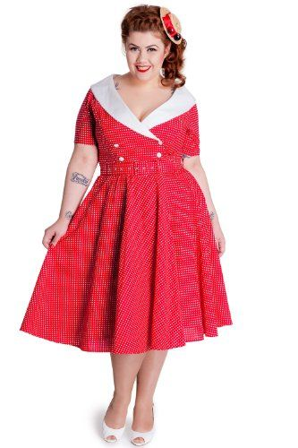 Plus Size Red And White Polka Dot Dress