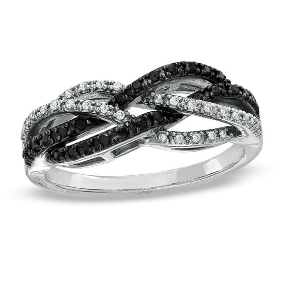 1/4 CT. T.W. Enhanced Black and White Diamond Twine Ring in 10K White Gold - View All Rings - Zales