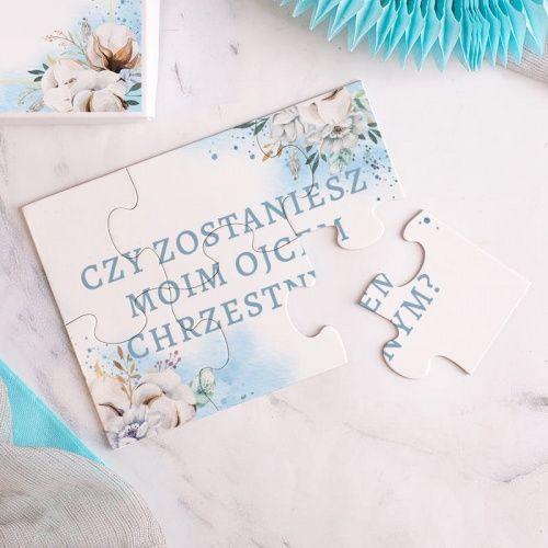 Puzzle W Pudelku Pytanie Do Chrzestnego Niebieskie Kwiaty Book Cover Puzzle
