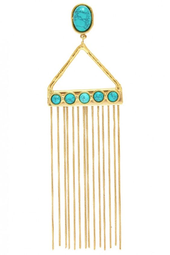 Sylvia Tolerado Spring Summer 2016 Gypsy Long Fringe Earrings
