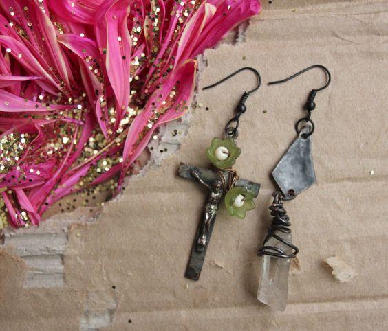 crucifix assemblage jewelry asymmetric earrings oxidized rustic. $25.00, via Etsy.