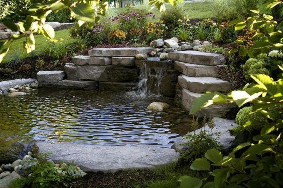 aménagment extérieur: bassin de jardin avec cascade