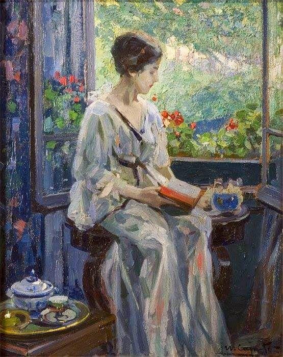 "Ulisse Caputo (Italian, 1872-1948) ""Donna che legge seduta alla finestra"":"