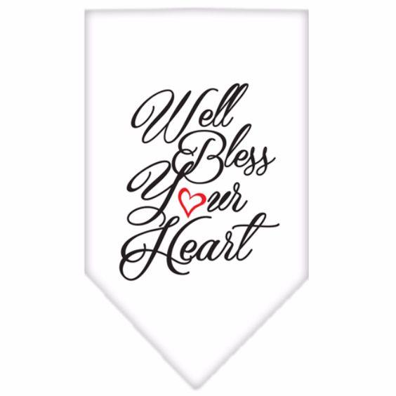 Well Bless Your Heart Screen Print Bandana White