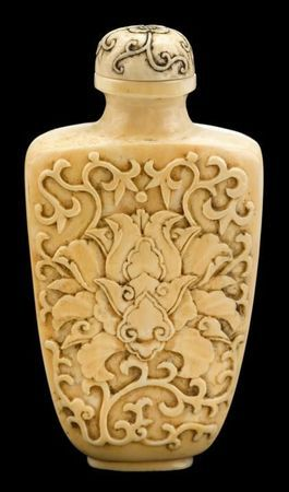 Chinese ivory indian lotus snuff bottle