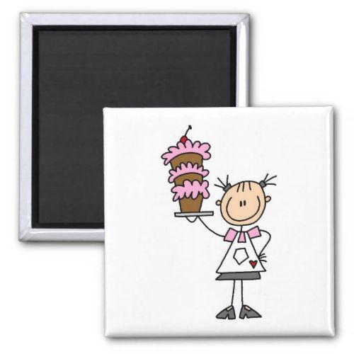 Female Stick Figure Baker Tshirts and Gifts Fridge Magnet