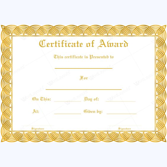 Blank Award Certificate Templates Download vector about blank - award certificates templates