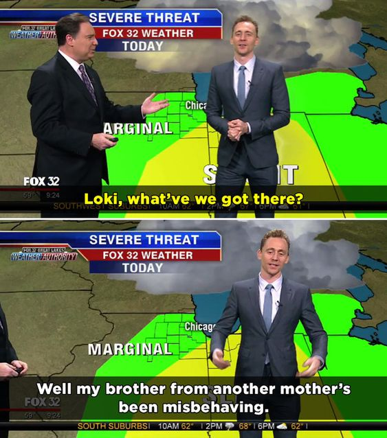 Tom took over the forecast as Loki, the character he plays in the Marvel films.   Tom Hiddleston Reported The Local Weather As Loki And It Was Perfect