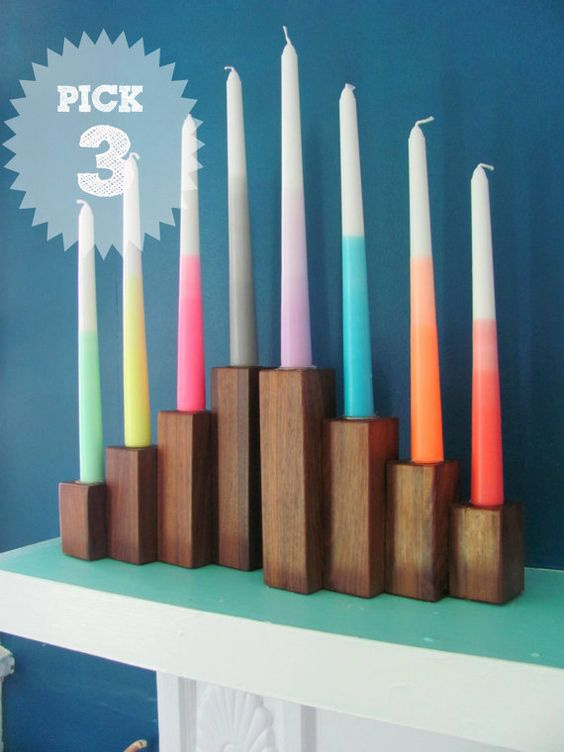 3 Dip Dye Ombre CandlesNeon -Party Supplies-taper candles