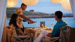 Intimate dining doesn't get more private than at Manele Bay's Ocean Hale. Two to six can dine privately ocean-side with personalised touches like a private server and a tailored musical playlist.  #Hawaii