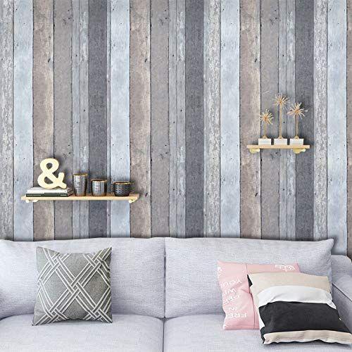 Gray Wood Grain Film Self Adhesive Panel Grey Wood Textured Peel And Stick Wallpaper For Kitche Distressed Wood Wallpaper Wood Plank Walls Wood Plank Wallpaper