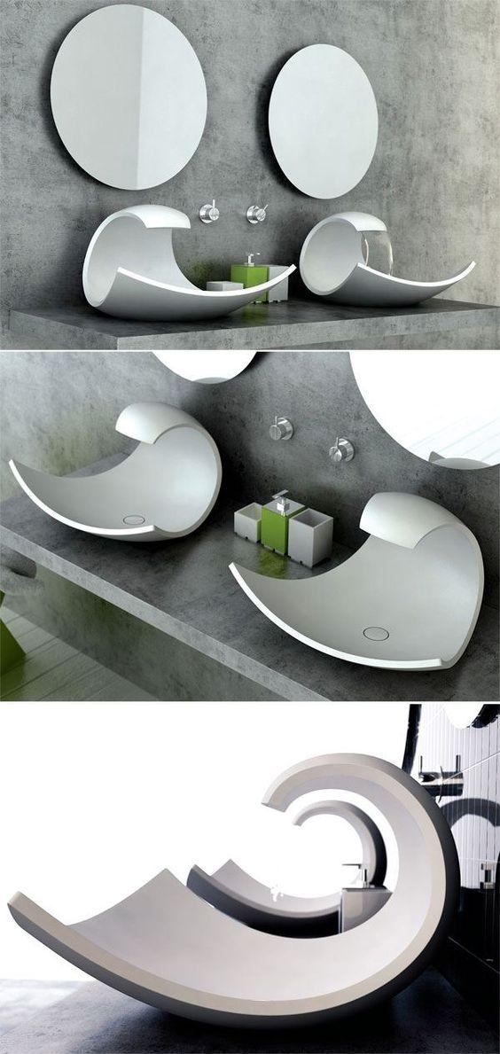 Aufsatzbecken Design-futuristisch-Joel Roberts-Eaux-Eaux Badezimmer Accessoires
