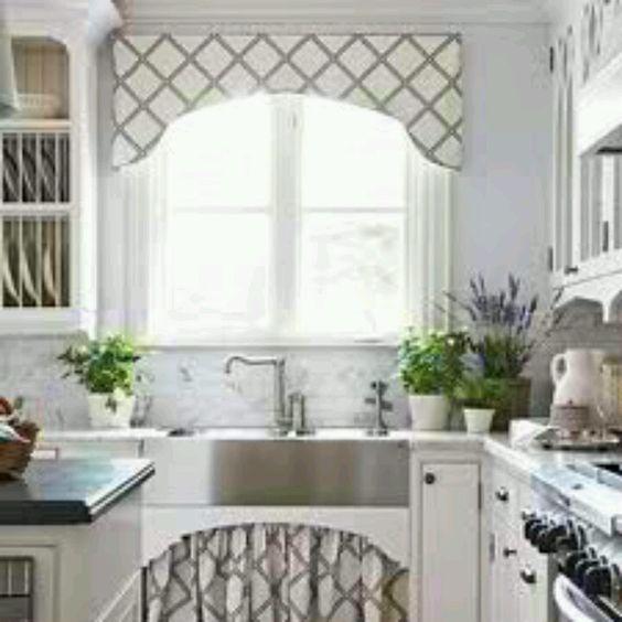 Cornice: Cornices can add pattern and a frame to kitchen windows. http://media-cache-ak0.pinimg.com/1200x/0d/e6/ff/0de6ffcb3a0f707b8cd552c647cf0cbf.jpg
