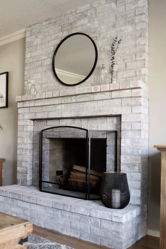 Brick Fireplace Makeover, White Wash Brick Fireplace Images