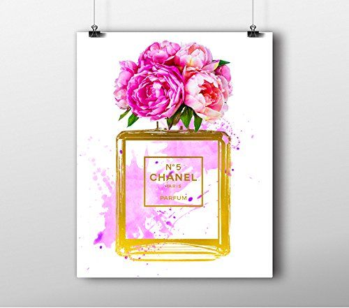 Chanel and Flower Perfume Art Print with watercolor and gold foil - $21