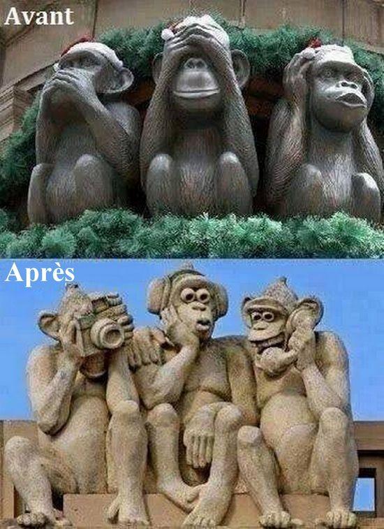 Merci à Bernard Werber d'avoir partagé cette image qui représente le monde d'aujourd'hui à travers les fameux trois singes de la sagesse. Le pire c'est que c'est vrai.