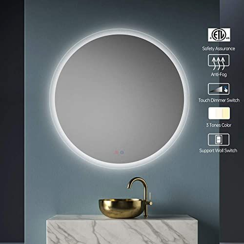 New Okiss 32 Inch Led Bathroom Mirror Lighted Bathroom Mirror Round Led Lights Mirror Wall Mounted Vanity Mirror Smart Touch Button Anti Fog Function Dimmabl In 2020 Led Mirror Bathroom Wall Mounted