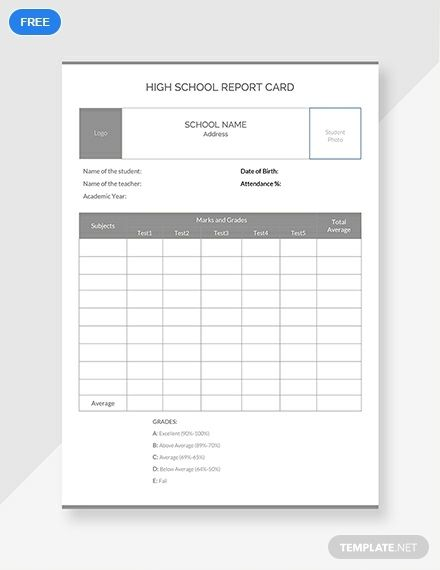 Free High School Report Card Report Card Template Report Card