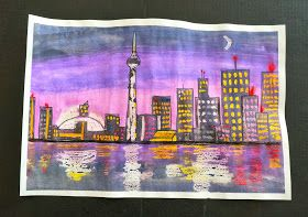 that artist woman: Pastel Resist Night Skyline- would work well as a two-day project for middle school