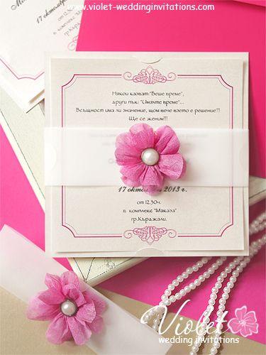 Floral wedding invitation card fuchsia handmade invitation from www floral wedding invitation card fuchsia handmade invitation from violet weddinginvitations stopboris Images