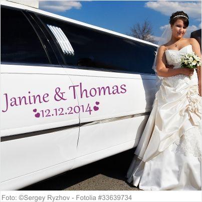 Autoaufkleber Hochzeit - Herzen mit Namen und Datum