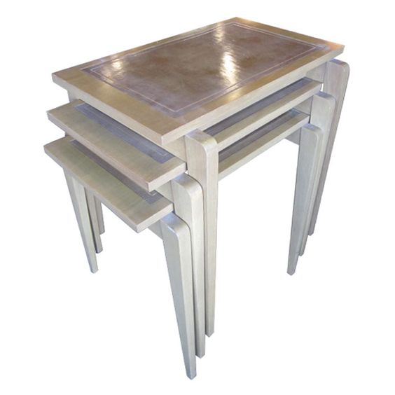 Set of Three Nesting Tables With Inset Leather Tops