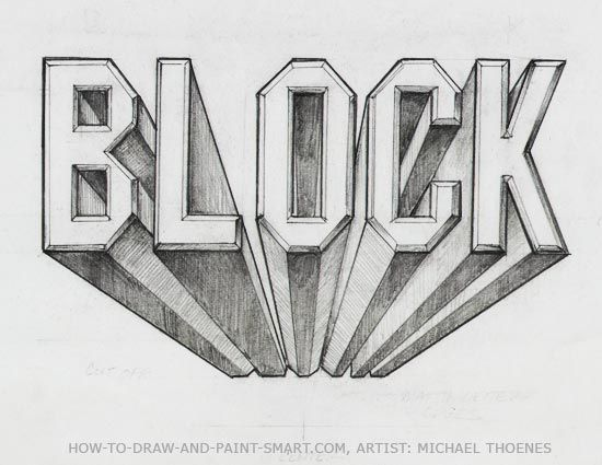 5th - step by step printout for block lettering in 1 pt. perspective (Cool Art Lessons)