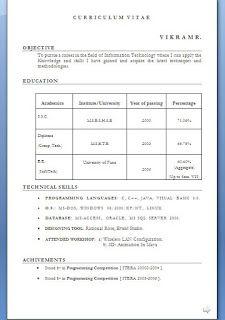 Standard Curriculum Vitae Format Sample Template Example
