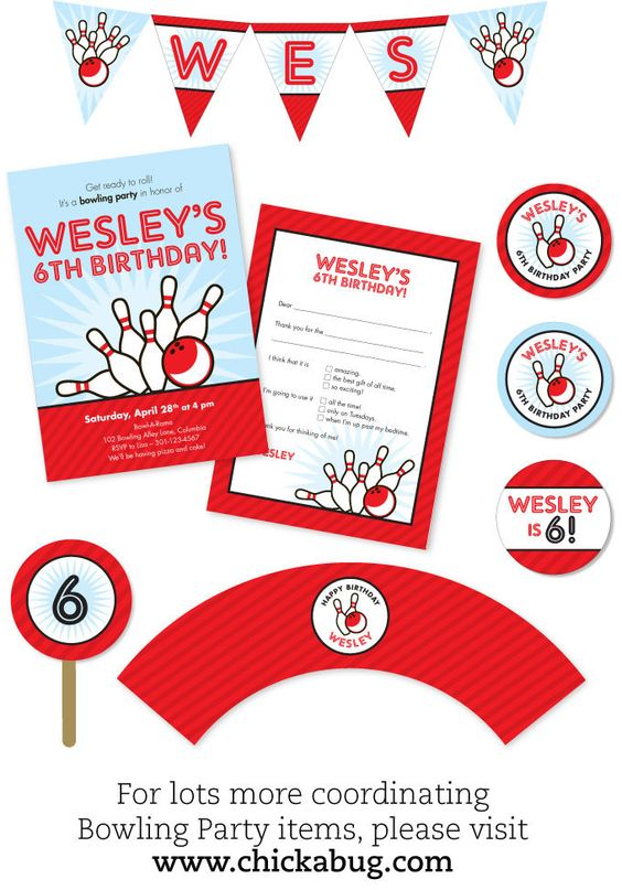 Bowling party - Set of 15 custom photo invitations - Printable file also available. $30.00, via Etsy.