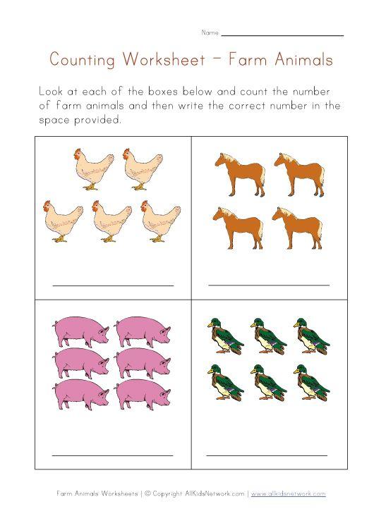 farm animals math worksheet | Pre-K Number worksheets | Pinterest ...