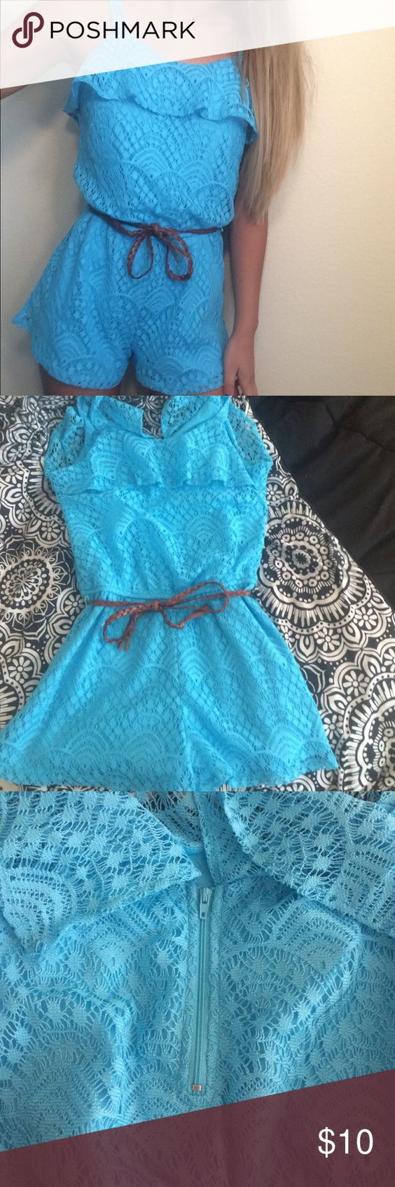 "Bright Blue Romper with Brown Belt Bright blue romper including brown belt. Size 10-12 girls by ""Lots of Love"" excellent condition Lots of Love Dresses Casual"