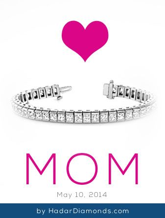 Mother's Day Tennis Bracelet by HadarDiamonds.com . Classic diamond tennis bracelet with one row of princess cut diamonds set in white, yellow gold or platinum. Custom design available.
