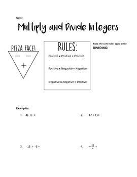 math worksheet : multiplying and dividing integers practice  integers the rules  : Integer Multiplication Worksheet