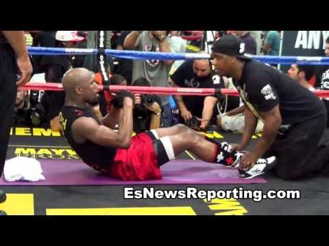 Floyd Mayweather vs Manny Pacquiao Abs Workout vs Abs Workout - esnews boxing - YouTube