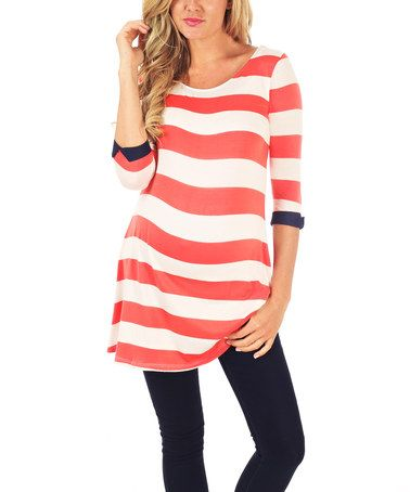 Look at this #zulilyfind! PinkBlush Coral Stripe Maternity Scoop Neck Tunic - Women by PinkBlush Maternity #zulilyfinds