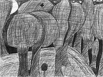 """""""La Forêt, la nuit"""", Stylo à bille : 3ème. Travaux d'Arts Plastiques du collège Stendhal à fosses (95)."""