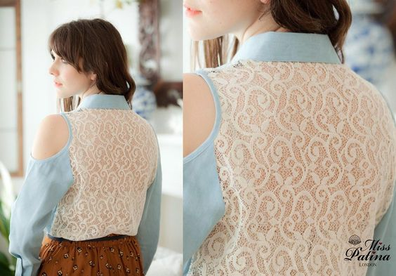 Image of 'Lovesick Blues' Lace Back Shirt - I love this and could use the top Dot gave me for it