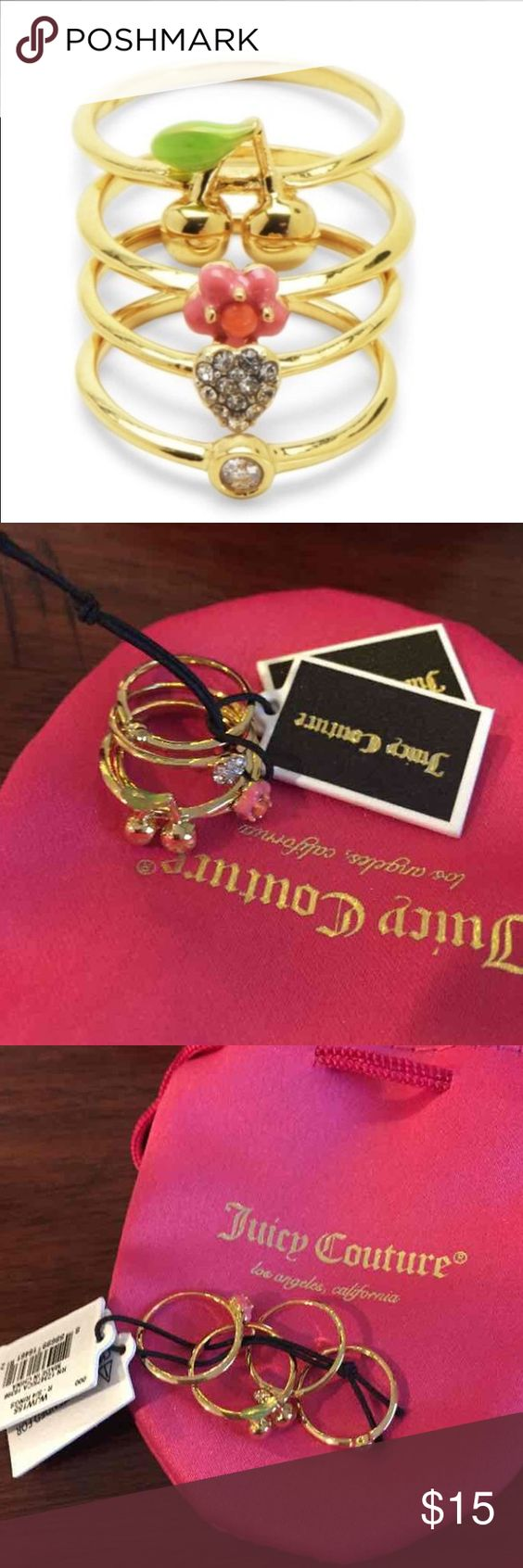 NWT $58 Juicy Couture Midi Ring Set ⚡️PRICE ABSOLUTELY FIRM⚡️ Designed to be worn on middle of finger. 4 rings total. New with tags. Bundle and save! Juicy Couture Jewelry Rings