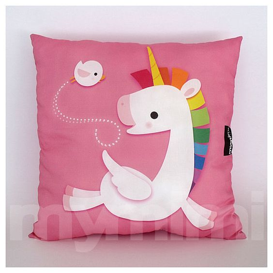 "12 X 12"" Pink Pillow, Decorative Pillow, Rainbow Unicorn"